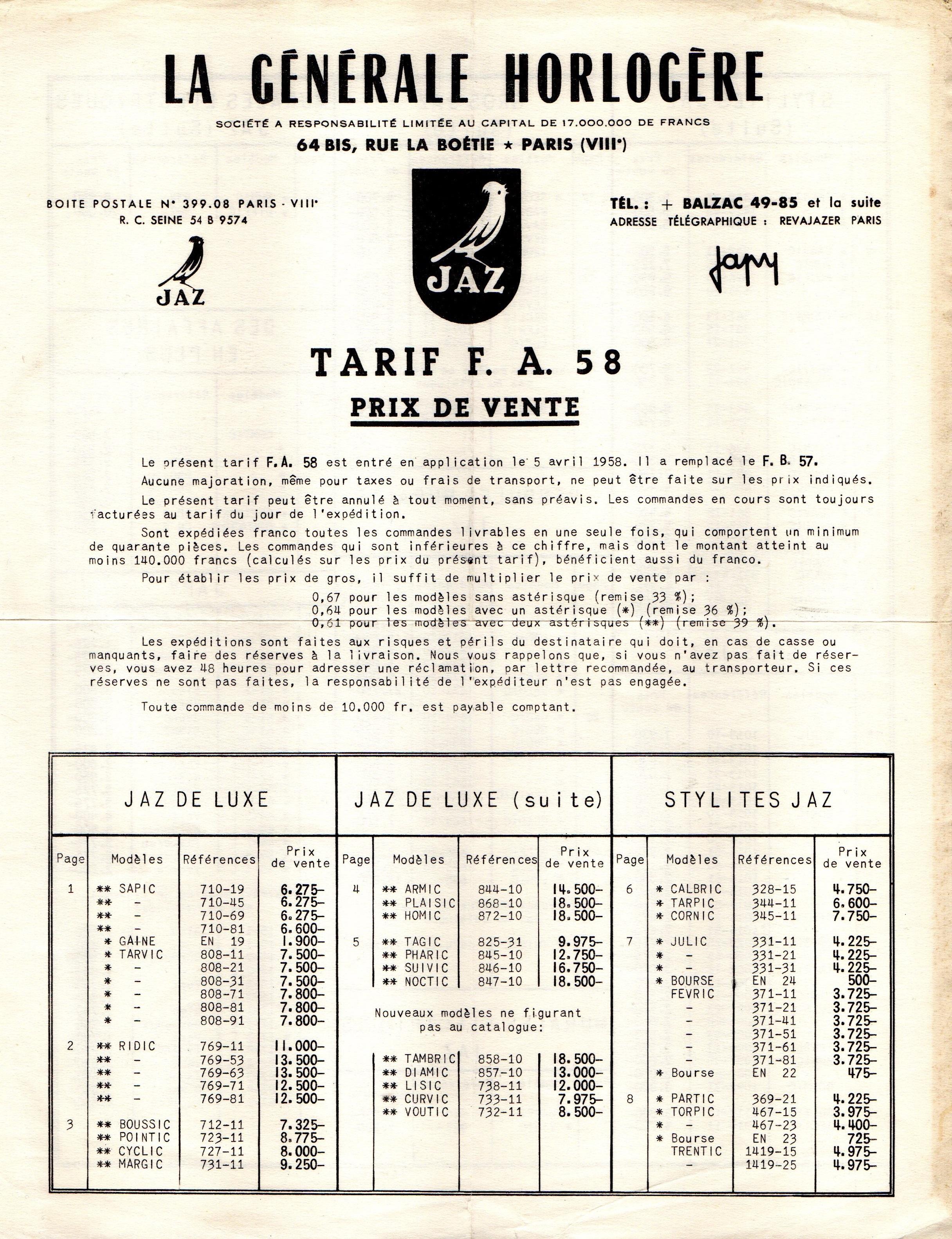 1958 tarif FA page 1
