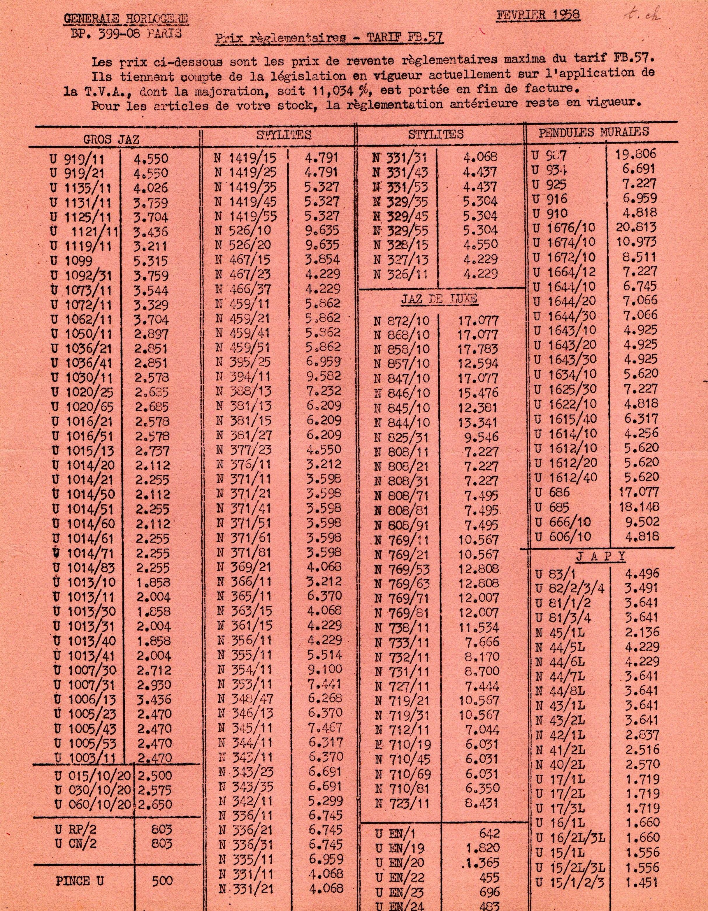 1958 tarif FB 57 février 58
