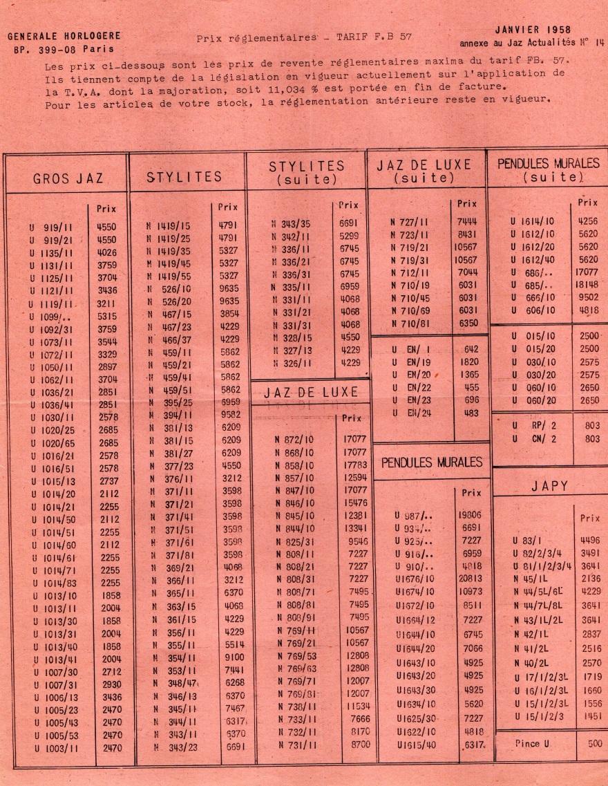 1958 tarif FB 57 janvier 58