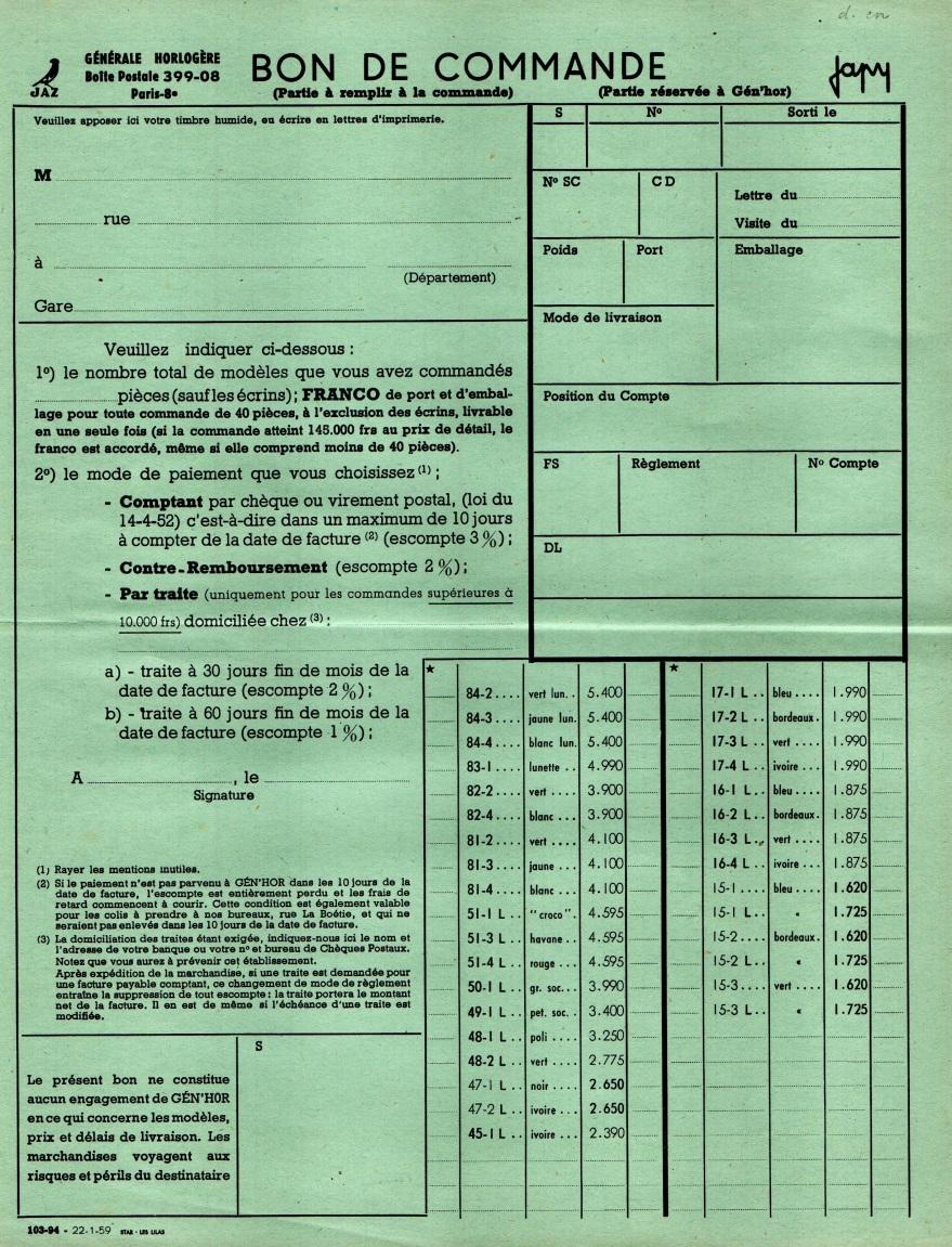 1959 bon de commande du tarif FA 59 Janvier 1959 page 1