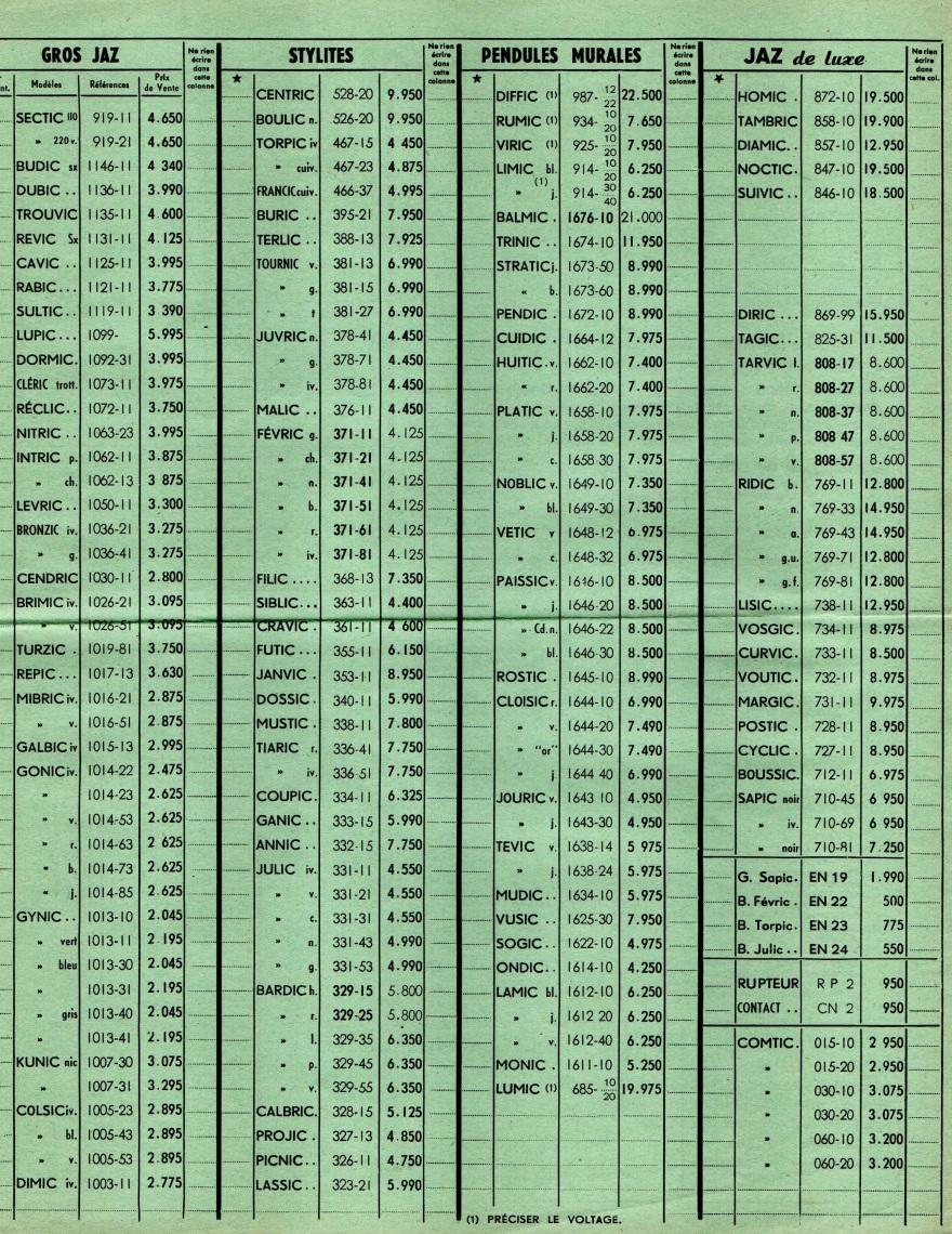 1959 bon de commande du tarif FA 59 Janvier 1959 page 2