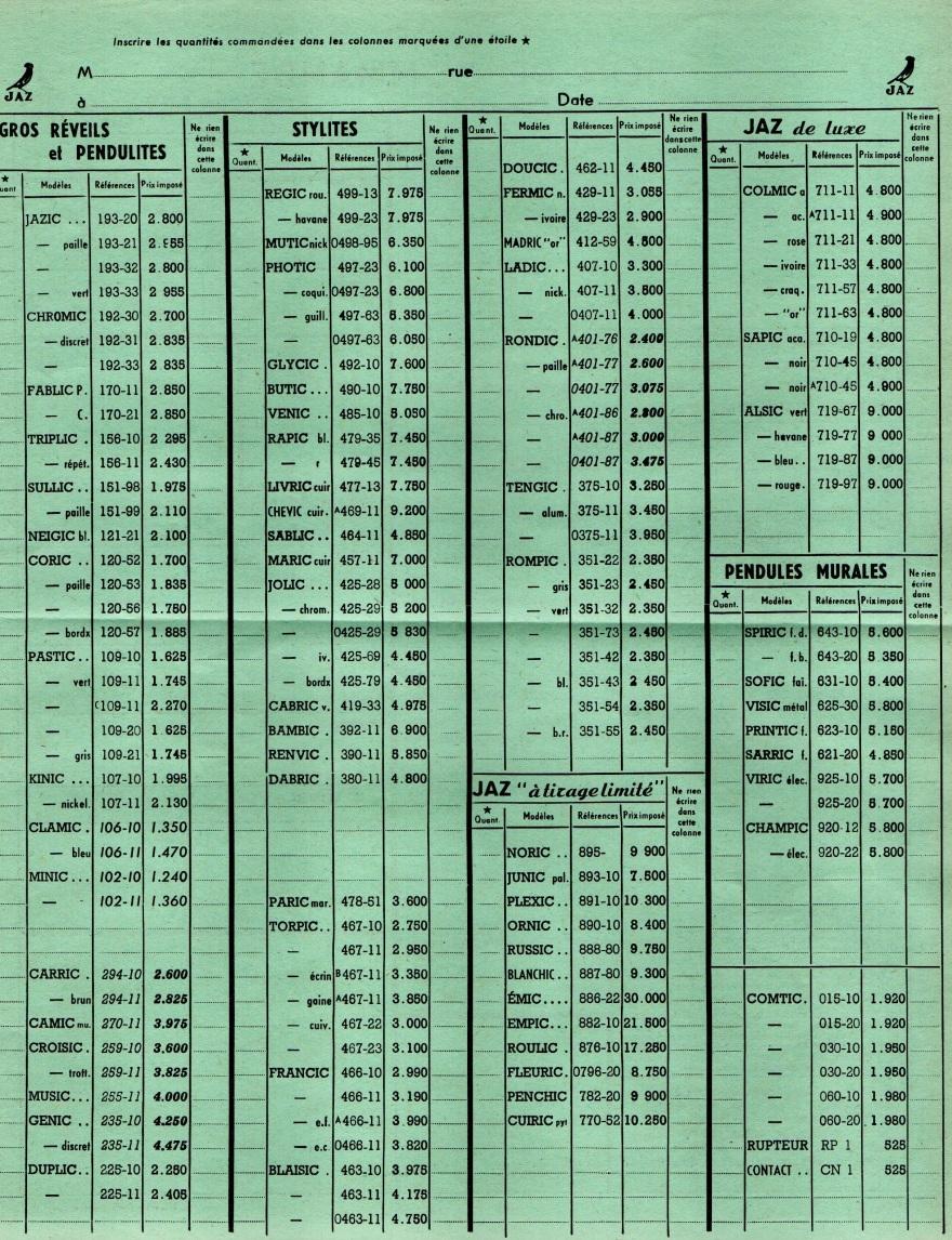 1959 bon de commande du tarif FA 59 Janvier 1959 page 3