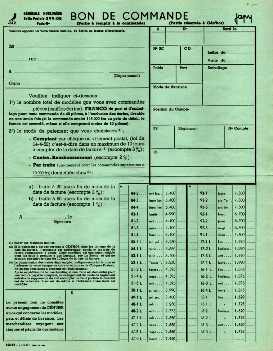 1959 bon de commande du tarif FA 59 Mai 1959 page 1