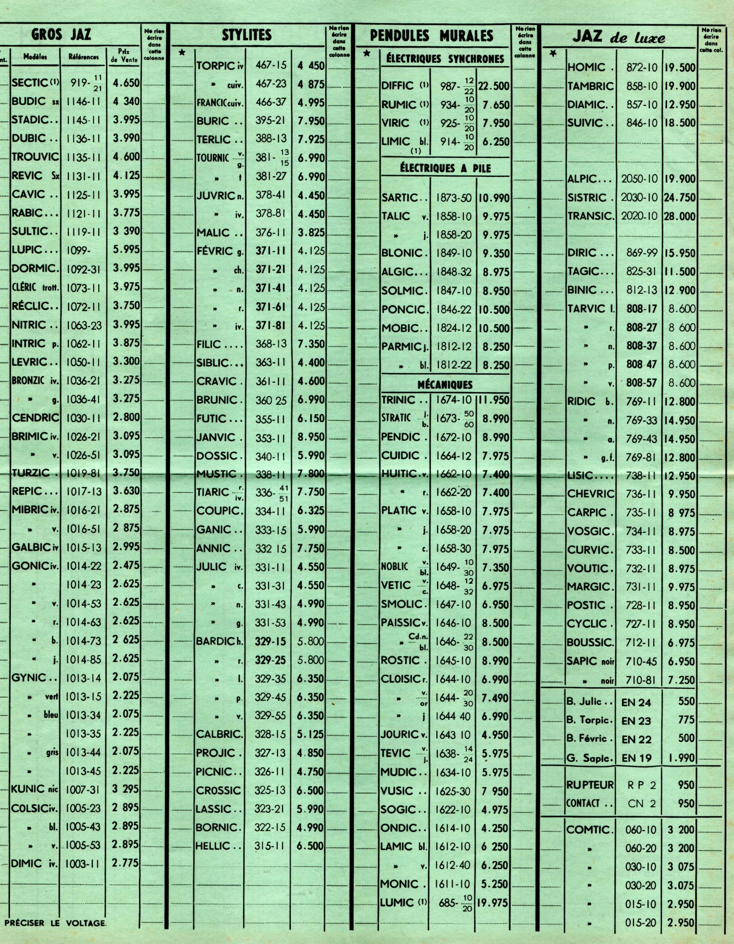 1959 bon de commande du tarif FA 59 page 2 juillet 1959