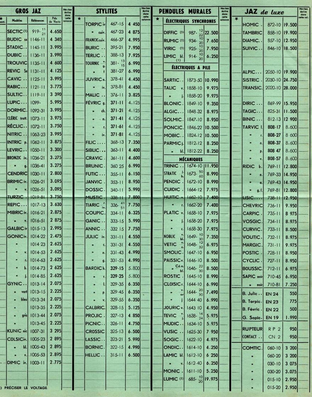 1959 bon de commande du tarif FB 59 page 2 juillet 1959
