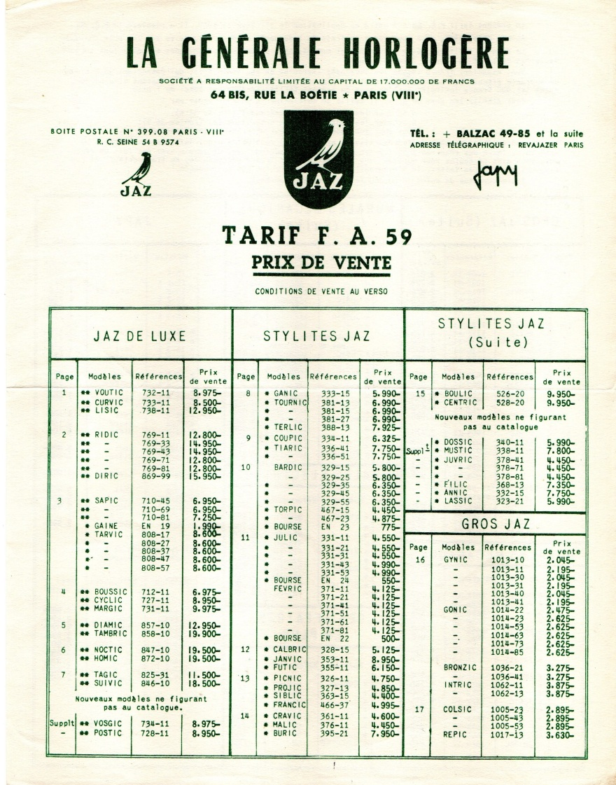 1959 tarif FA page 1