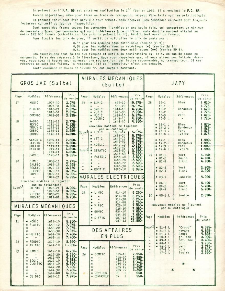 1959 tarif FA page 2