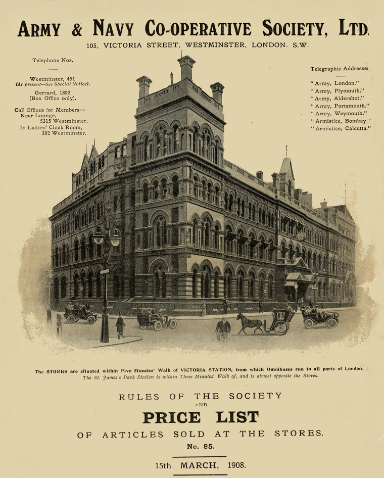 army and navy co-operative 1908