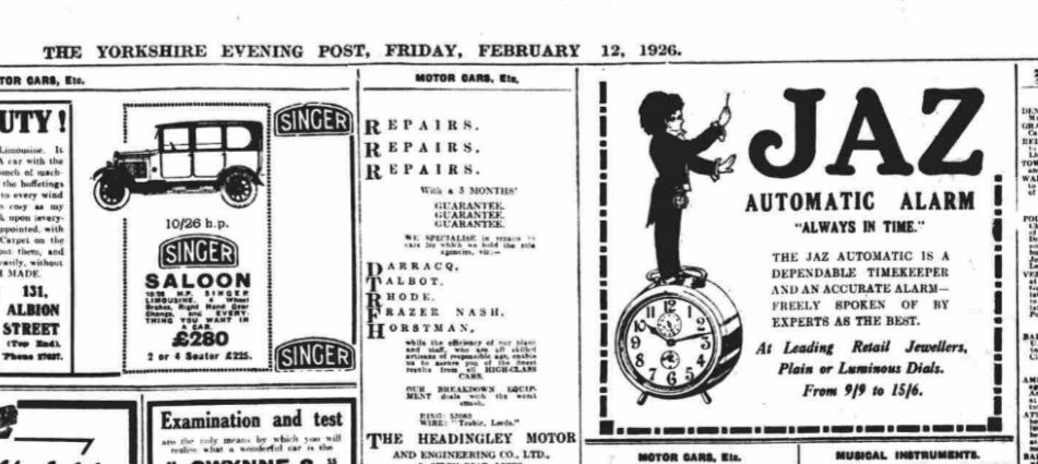1926 fev 12 Yorshire Evening Post pleine page