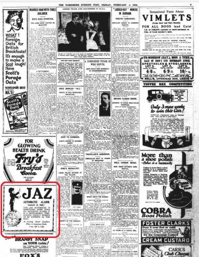 1926 fev 5 Yorshire Evening Post pleine page