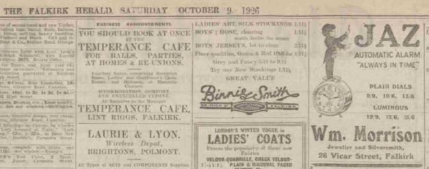 1926 oct 9 The Falkirk Herald detail