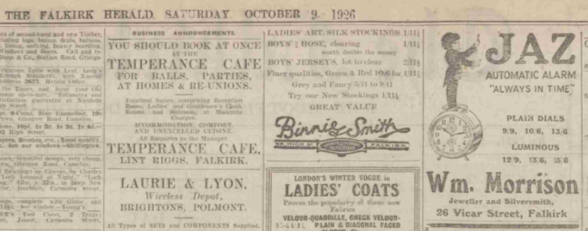 1926 oct 9 The Falkirk Herald detail