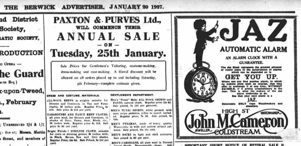 1927 janv 20 the Berwick Advertiser