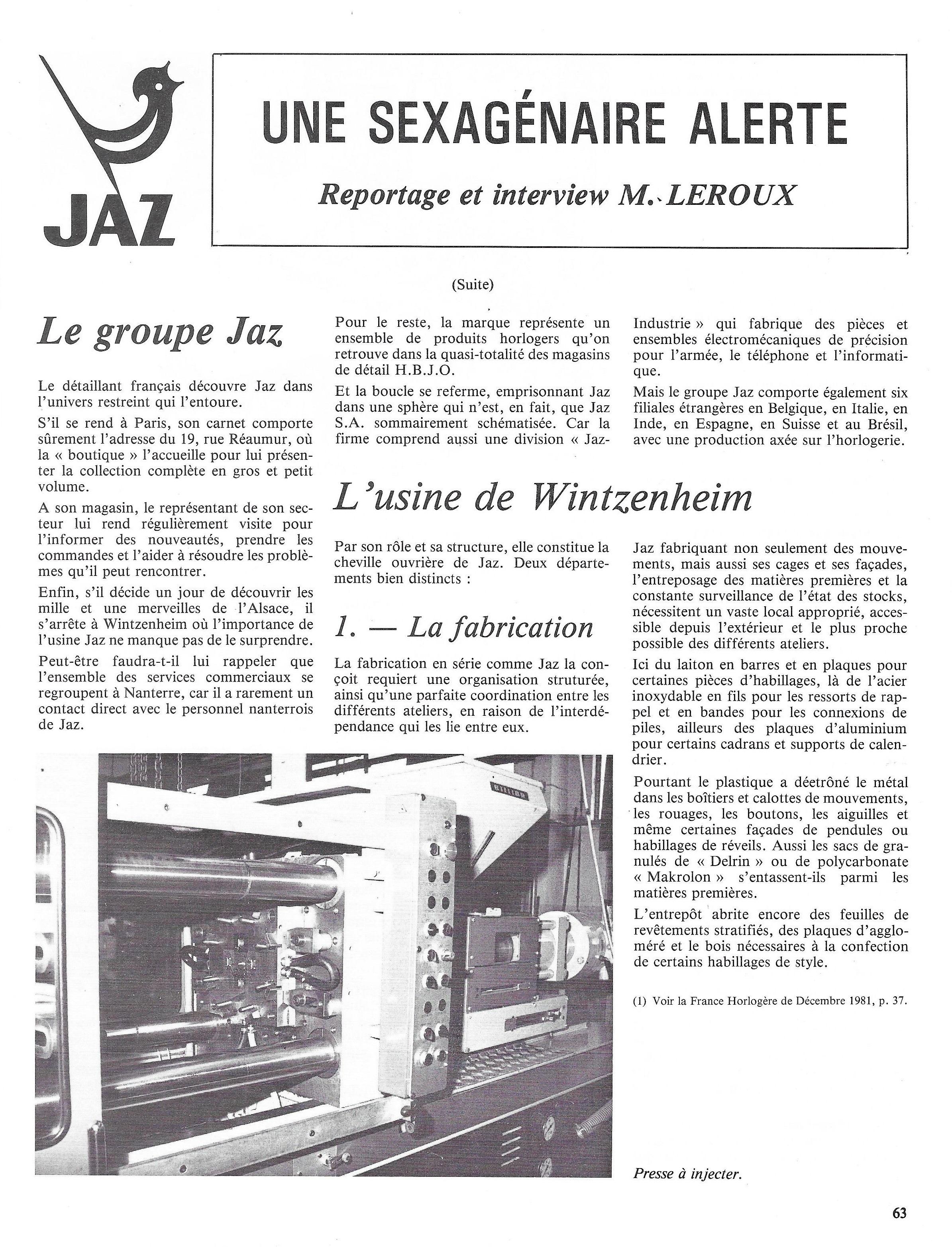La France Horlogère n°429 Janv 1982 page 63