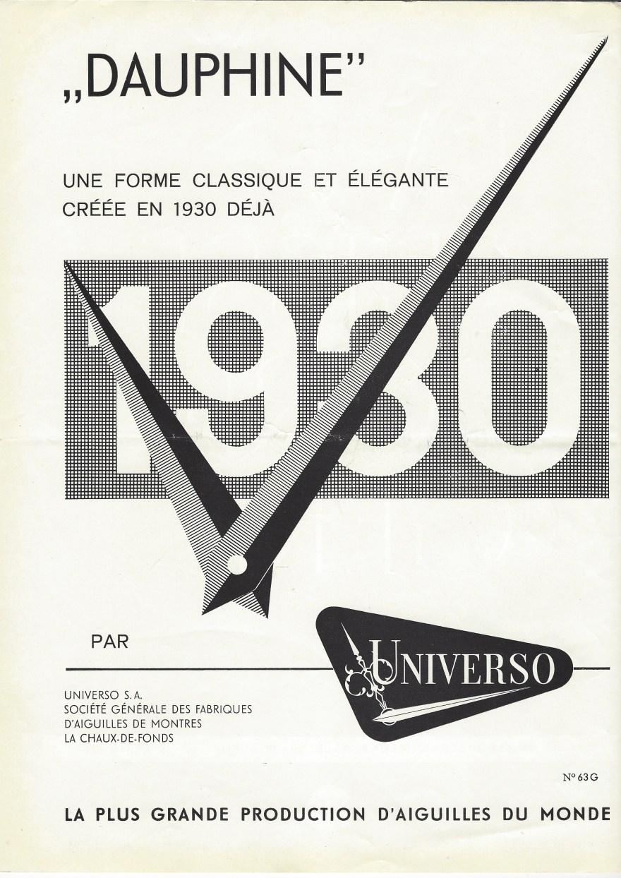 Universo_fabrique_daiguilles_dauphine_publicite_avril_1963_la_Suisse_Horlogere