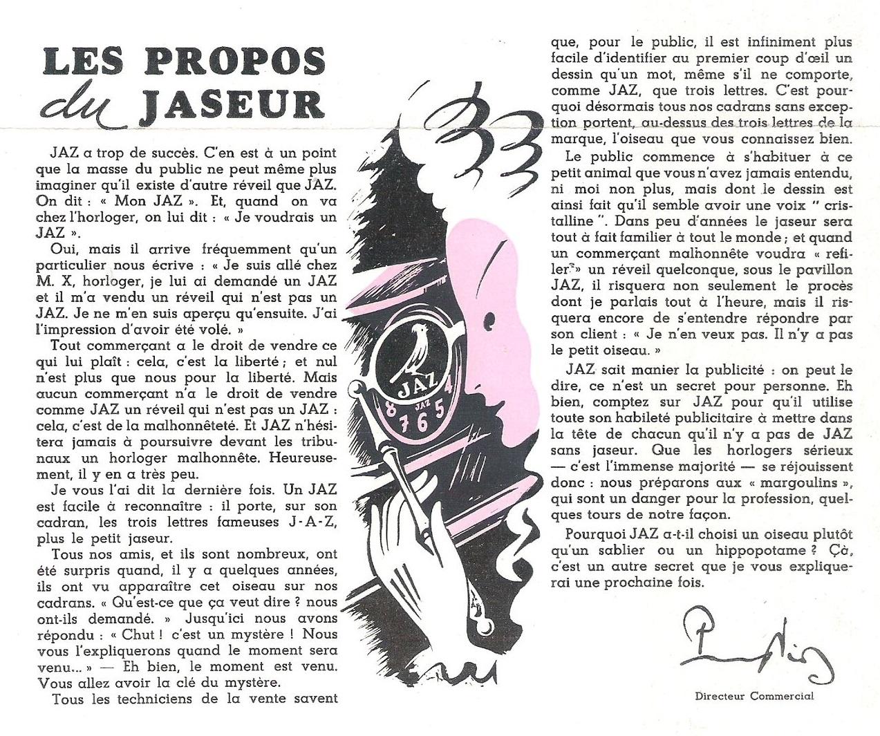 jaseur Jazette n°11 Juillet 1946 page 1