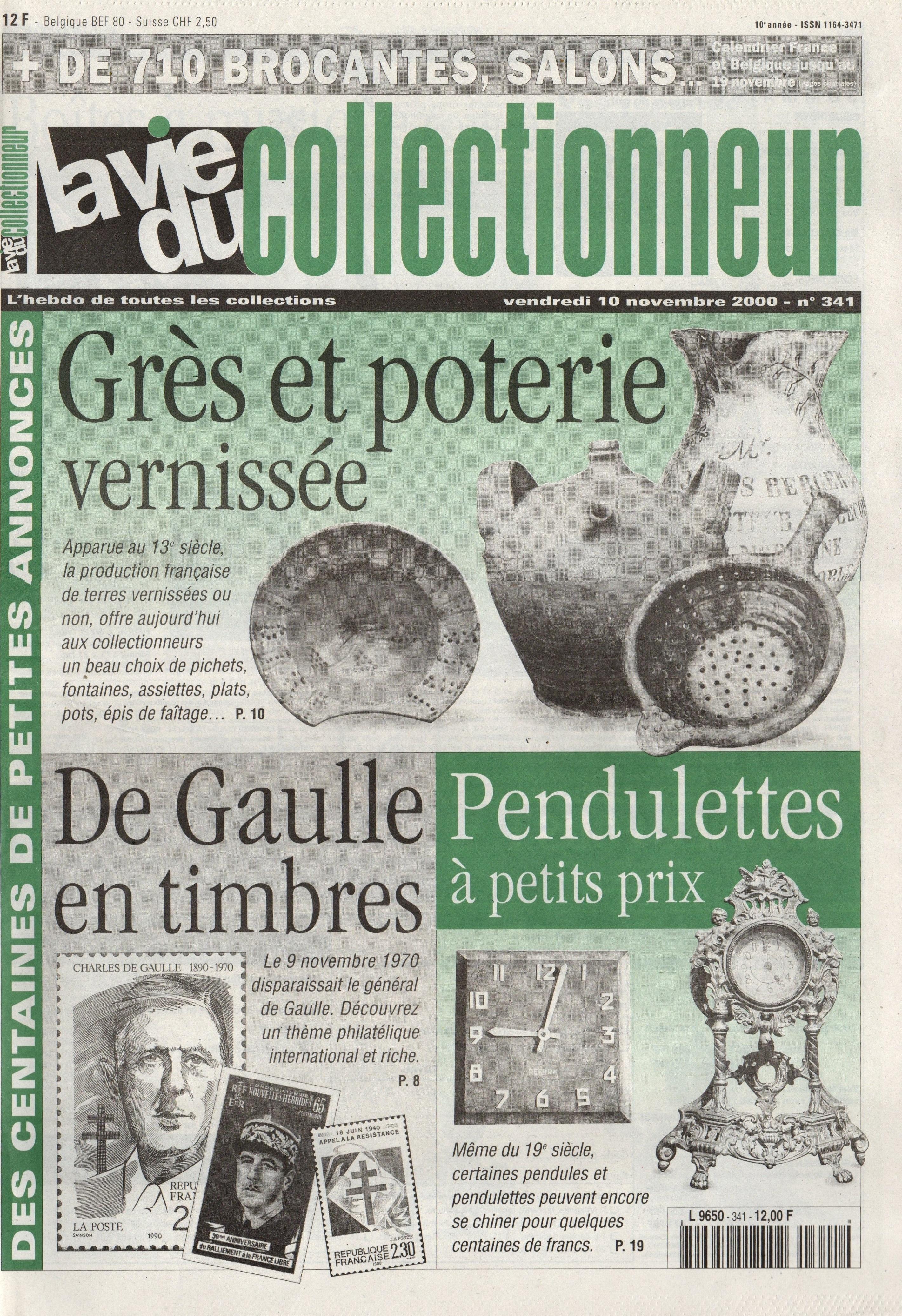 la vie du collectionneur 10 novembre 2000