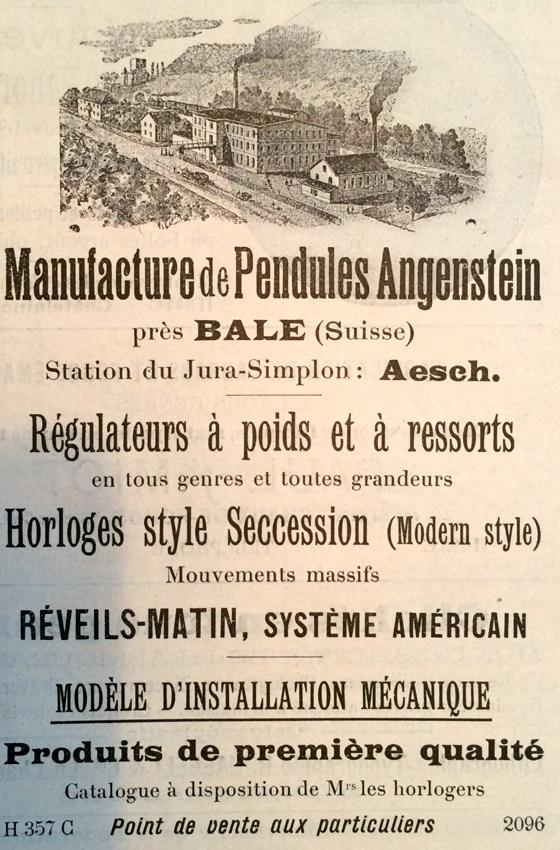 1902 Angenstein_Aesch_Bale_regulateurs_a_poids_et_a_ressorts_Horloges_Reveil_matin_1902