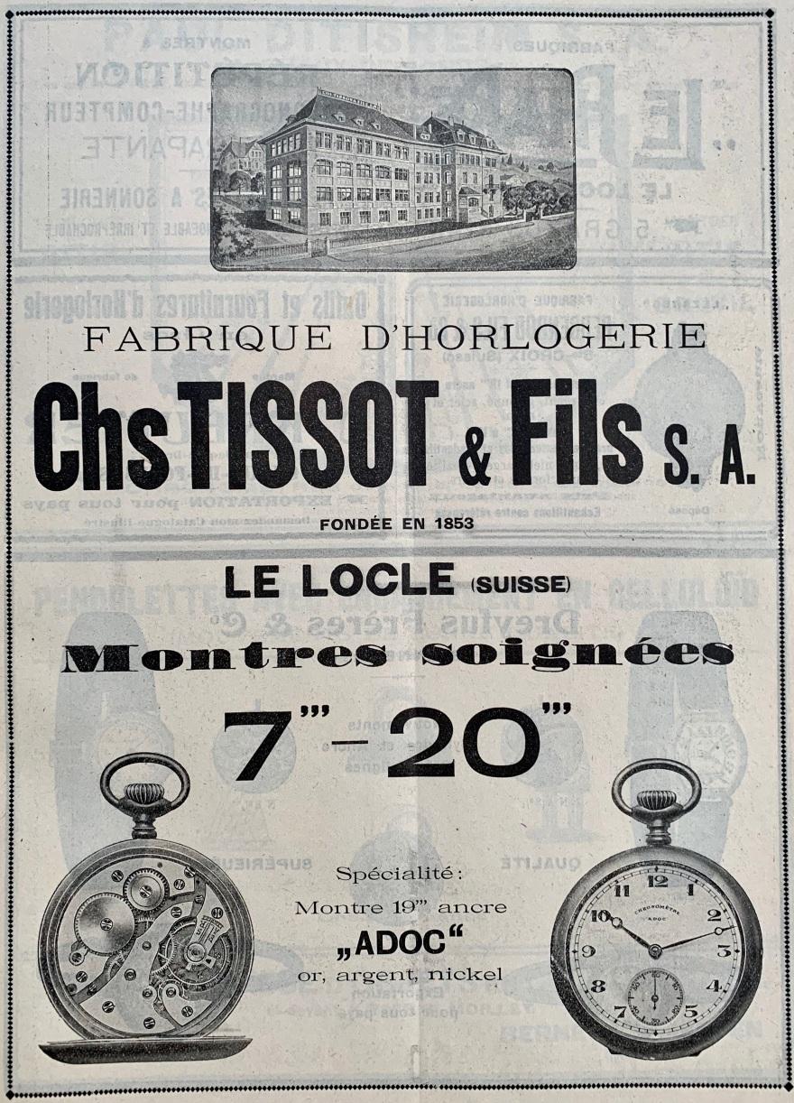 1920 Charles Tissot_fils_le_locle_Adoc_montre_ancre_fabrique_horlogerie_publicites_horlogere_1920