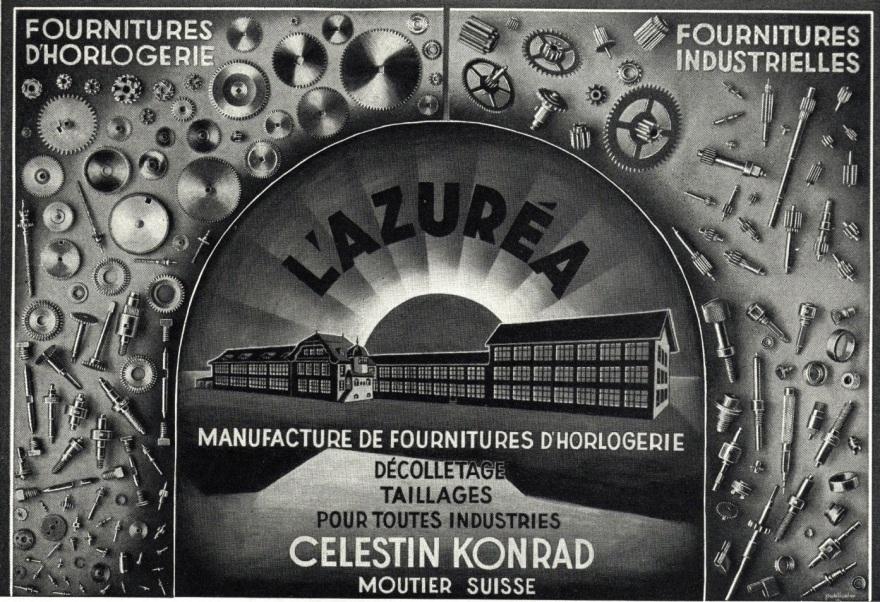 1947 Azurea_Celestin_Konrad_Moutier_fournitures_horlogere_Leon_Fresard_Bassecourt_fabrique_de_boites_de_montres_publicites_horlogeres_1947