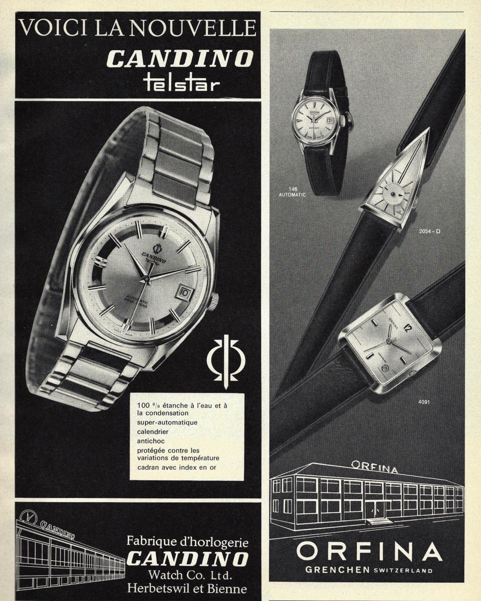 1964 Candino_Telstar_biene_Orfina_grenchen_publicites_horlogeres_1964