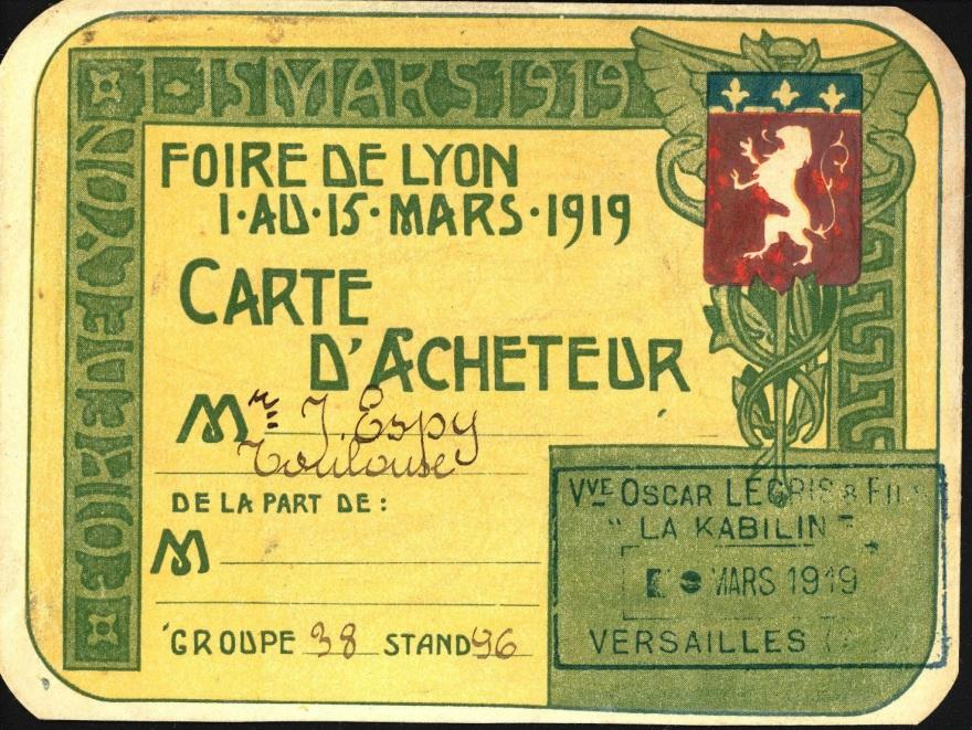 1919 carte d'acheteur