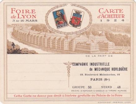 Carte acheteur 1924 CIMH