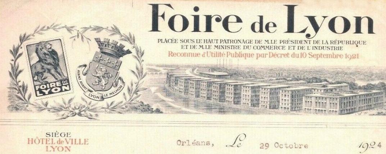 FOIRE-DE-LYON 1924 papier à en tête
