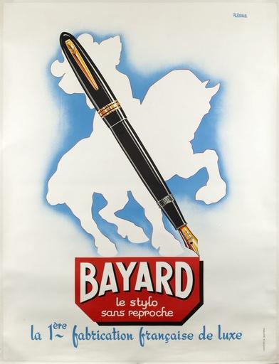 """A. Peris. """"Bayard le stylo sans reproche la 1ère fabrication française de luxe"""". Pierre du Terrail, le chevalier Bayard (1470-1524). Affiche, lithographie. 1949. Paris, Bibliothèque Forney."""