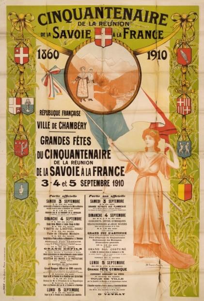 Programme des fêtes organisées à l'occasion du cinquantième anniversaire du rattachement de la Savoie à la France, août 1860.