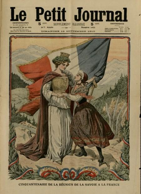 Allégorie du rattachement de la Savoie à la France parue dans le supplément illustré du Petit journal, du dimanche 18 septembrre 1910.