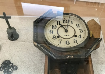 A broken clock stopped by the Aug. 9, 1945 atomic bombing of Nagasaki, Japan, as well as a burned cross and rosary are pictured at the Urakami Kirishitan Museum in Nagasaki, Japan, Aug. 29, 2017. Pope Francis is scheduled to visit Nagasaki during his November visit to Thailand and Japan. (CNS photo/Mihoko Owada) See POPE-ASIA-ITINERARY Oct. 2, 2019.