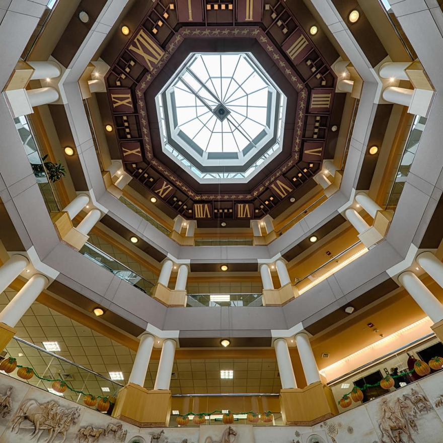Built in 2001, the World's Largest Ceiling Clock is housed within the Rotunda of the Lexington Public Library