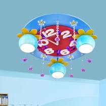 Chambre-enfant-bleu-rose-LED-plafonnier-mal-fille-chambre-lumi-re-cristal-horloge-LED-dessin-anim