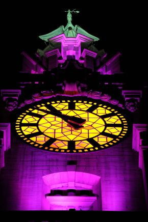 Guests lunch around one of the 25ft-diameter Liver Building clock dials before its installation liverpool