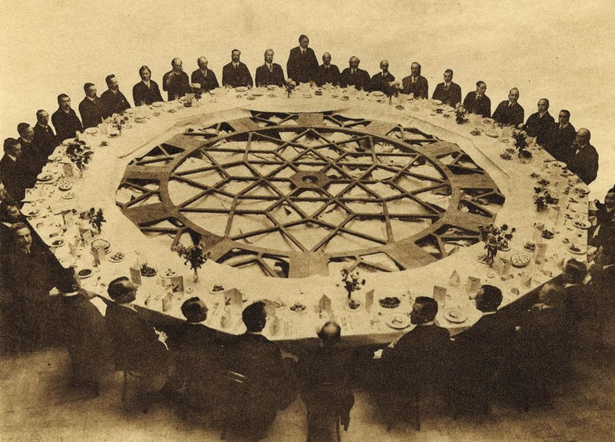 Guests lunch around one of the 25ft-diameter Liver Building clock dials before its installation