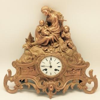 horloge-en-bronze-dore vierge saint jean en baptiste